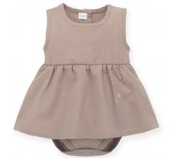 Šaty s body bez rukávů Tiny Flowers hnědé Pinokio